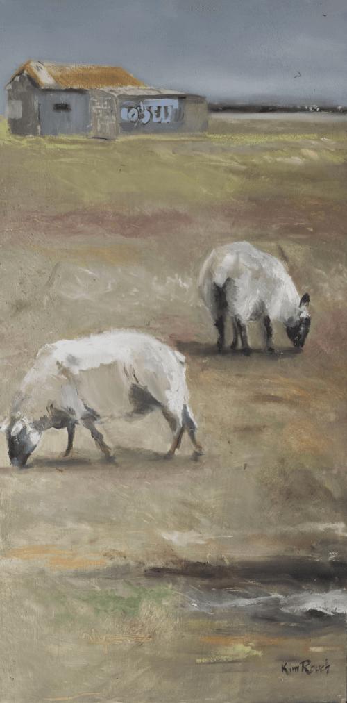 Moutons 1 - Huile sur bois - 40x80