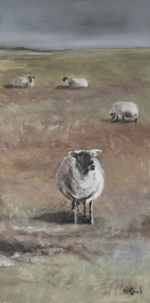 Moutons 2 - Huile sur bois - 40x80